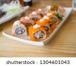 roll california sushi on white... | Shutterstock . vector #1304601043