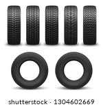car tires or auto tyres 3d... | Shutterstock .eps vector #1304602669