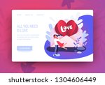 romantic cute illustration.... | Shutterstock .eps vector #1304606449