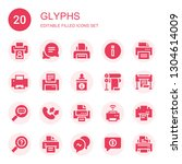 glyphs icon set. collection of... | Shutterstock .eps vector #1304614009
