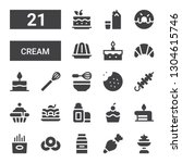 cream icon set. Collection of 21 filled cream icons included Ice cream, Pastry bag, Milk, Doughnut, Fries, Birthday cake, Cupcake, Lip balm, Brownie, Skewer, Cookie, Whisk, Cake