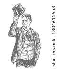 elegant proud man of the... | Shutterstock .eps vector #1304615953