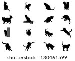 Stock vector set of vector cat silhouettes 130461599