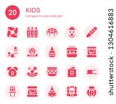 kids icon set. collection of 20 ... | Shutterstock .eps vector #1304616883