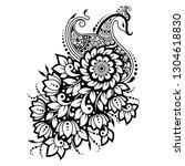 mehndi flower pattern with... | Shutterstock .eps vector #1304618830