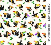 seamless pattern with black... | Shutterstock . vector #1304623660