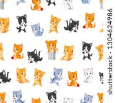 seamless pattern with various... | Shutterstock . vector #1304624986