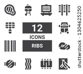 ribs icon set. collection of 12 ...   Shutterstock .eps vector #1304625250
