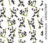 seamless pattern with panda... | Shutterstock . vector #1304627809