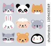 Stock vector vector set of cute animals head kids illustration cat panda puppy rabbit sheep koala 1304630569