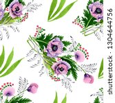 pink purple poppy botanical...   Shutterstock . vector #1304644756