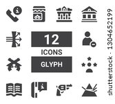 glyph icon set. collection of... | Shutterstock .eps vector #1304652199