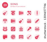 song icon set. collection of 20 ... | Shutterstock .eps vector #1304657746