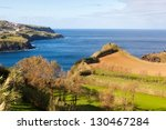 Cultivated land with grass at the Atlantic ocean coast, San Miguel, Azores, Portugal - stock photo