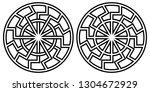 symbol pagan sun sign  curves... | Shutterstock .eps vector #1304672929