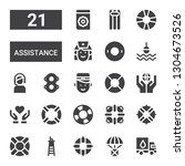 assistance icon set. collection ... | Shutterstock .eps vector #1304673526