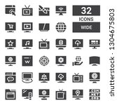 wide icon set. collection of 32 ... | Shutterstock .eps vector #1304675803