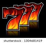 triple lucky blazing sevens... | Shutterstock .eps vector #1304681419