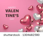 3d metallic hearts with... | Shutterstock .eps vector #1304682580