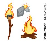 torch and campfire fire stone... | Shutterstock .eps vector #1304692843