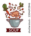 chicken broth or bouillon soup... | Shutterstock .eps vector #1304692846