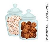 cookies or candies of chocolate ... | Shutterstock .eps vector #1304692963