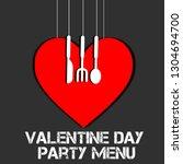 valentines day menu icon design ... | Shutterstock . vector #1304694700