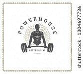 fitness gym badge or emblem...   Shutterstock .eps vector #1304697736