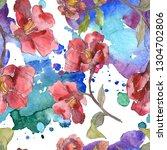 red camelia floral botanical... | Shutterstock . vector #1304702806