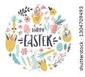 set of easter design elements.... | Shutterstock .eps vector #1304709493