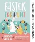 easter egg hunt poster or...   Shutterstock .eps vector #1304709496