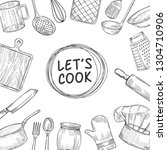 lets cook. cooking chef class... | Shutterstock .eps vector #1304710906