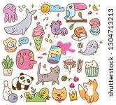 set of kawaii doodles design... | Shutterstock .eps vector #1304713213
