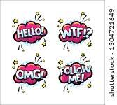 retro comic speech bubbles set... | Shutterstock .eps vector #1304721649