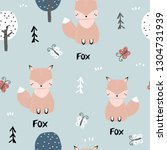 seamless pattern with little... | Shutterstock .eps vector #1304731939