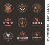 butcher shop logos set vector... | Shutterstock .eps vector #1304733799