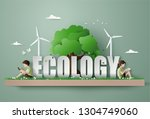 eco and environment concept ... | Shutterstock .eps vector #1304749060