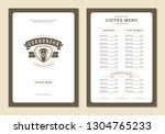 coffee menu design brochure... | Shutterstock .eps vector #1304765233