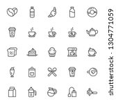 25 line art coffee shop icons... | Shutterstock .eps vector #1304771059