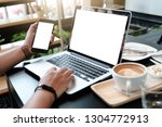 close up of man using mobile... | Shutterstock . vector #1304772913