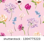 vector botanical seamless... | Shutterstock .eps vector #1304775223