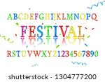 font alphabet of colored... | Shutterstock .eps vector #1304777200