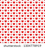 red hearts seamless vector... | Shutterstock .eps vector #1304778919