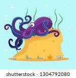 purple octopus on the stone.... | Shutterstock .eps vector #1304792080