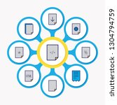 illustration of 9 file icons... | Shutterstock . vector #1304794759