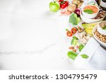 healthy food. selection of good ... | Shutterstock . vector #1304795479