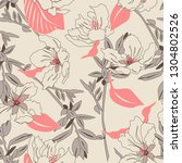 seamless pattern with beige... | Shutterstock .eps vector #1304802526