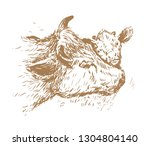 cow and calf drawing   Shutterstock .eps vector #1304804140