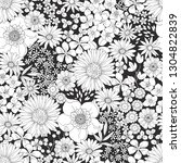 black and white floral pattern... | Shutterstock .eps vector #1304822839