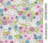 seamless ditsy floral print... | Shutterstock .eps vector #1304823460
